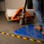warehouse working walking on cleanroom mat