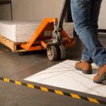 warehouse working walking on cleanroom mat